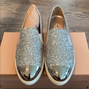 NWT Miu Miu glitter slip on sneakers